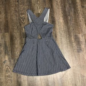 TopShop striped fit and flare dress